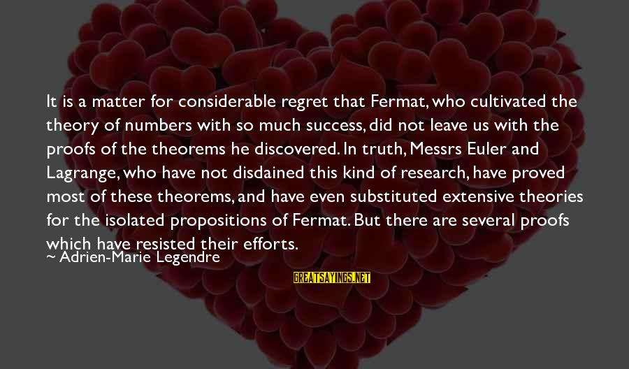 Truth Theory Sayings By Adrien-Marie Legendre: It is a matter for considerable regret that Fermat, who cultivated the theory of numbers