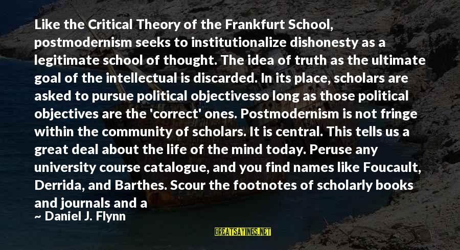 Truth Theory Sayings By Daniel J. Flynn: Like the Critical Theory of the Frankfurt School, postmodernism seeks to institutionalize dishonesty as a