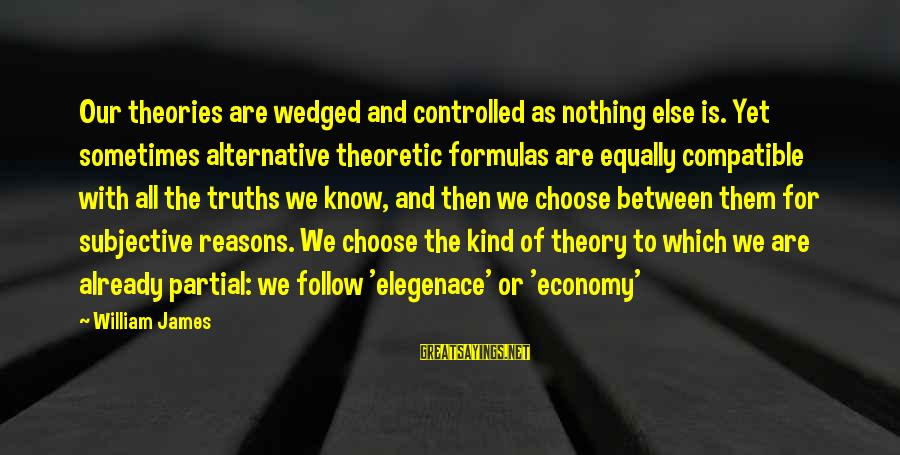 Truth Theory Sayings By William James: Our theories are wedged and controlled as nothing else is. Yet sometimes alternative theoretic formulas