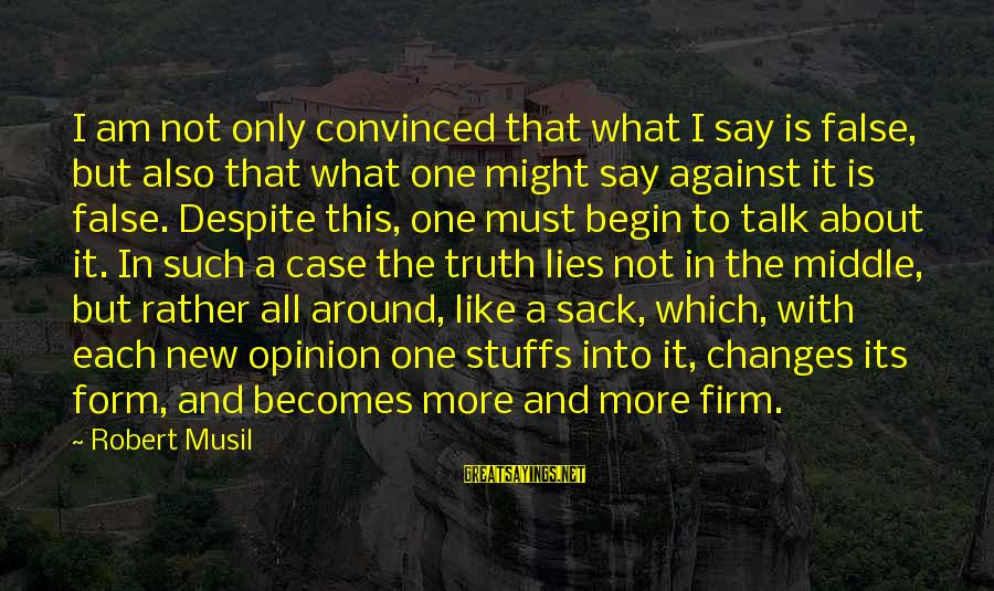 Truth Versus Lies Sayings By Robert Musil: I am not only convinced that what I say is false, but also that what