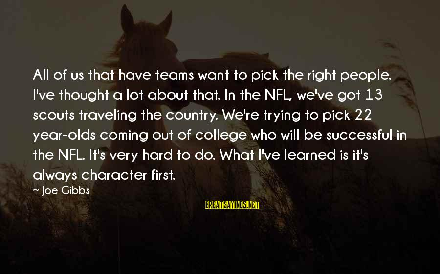 Trying To Be Successful Sayings By Joe Gibbs: All of us that have teams want to pick the right people. I've thought a