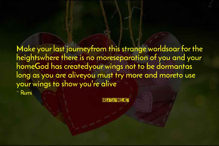 Try'na Sayings By Rumi: Make your last journeyfrom this strange worldsoar for the heightswhere there is no moreseparation of