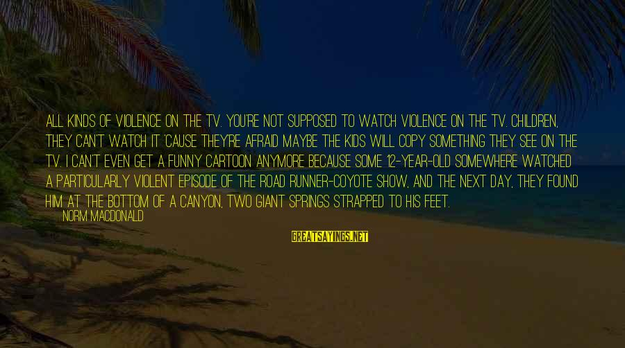 Tv Violence Sayings By Norm MacDonald: All kinds of violence on the TV. You're not supposed to watch violence on the