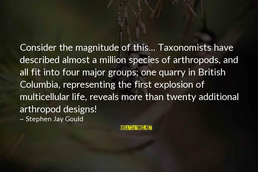 Twenty First Sayings By Stephen Jay Gould: Consider the magnitude of this... Taxonomists have described almost a million species of arthropods, and