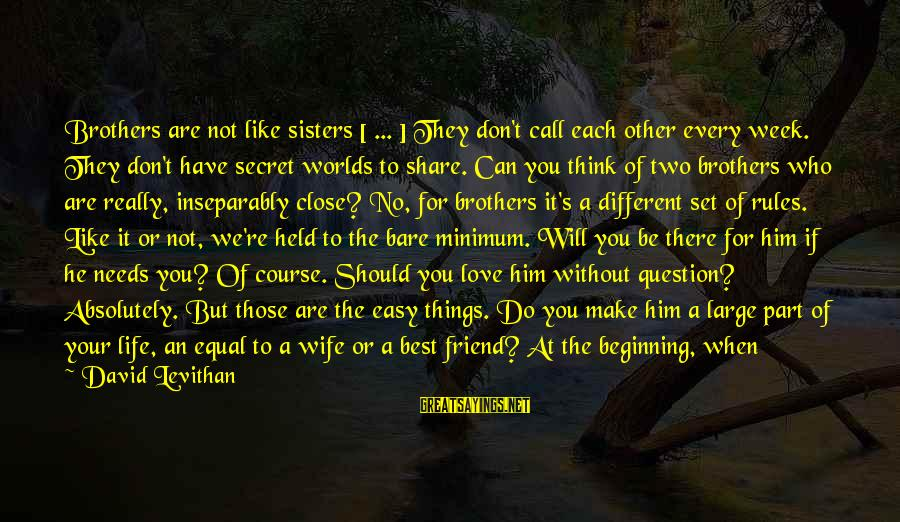 Two Sisters Love Sayings By David Levithan: Brothers are not like sisters [ ... ] They don't call each other every week.