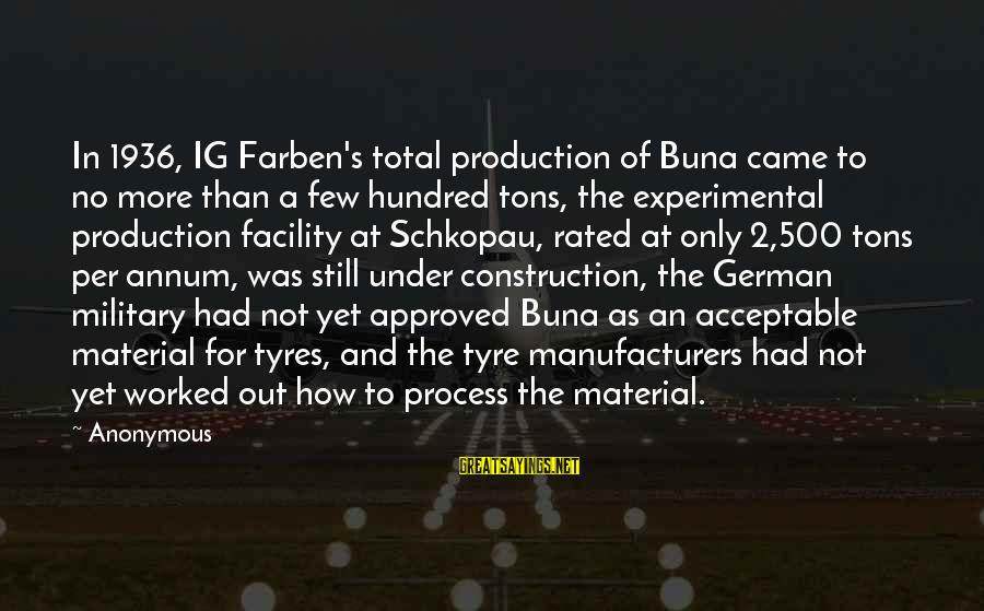 Tyre Sayings By Anonymous: In 1936, IG Farben's total production of Buna came to no more than a few