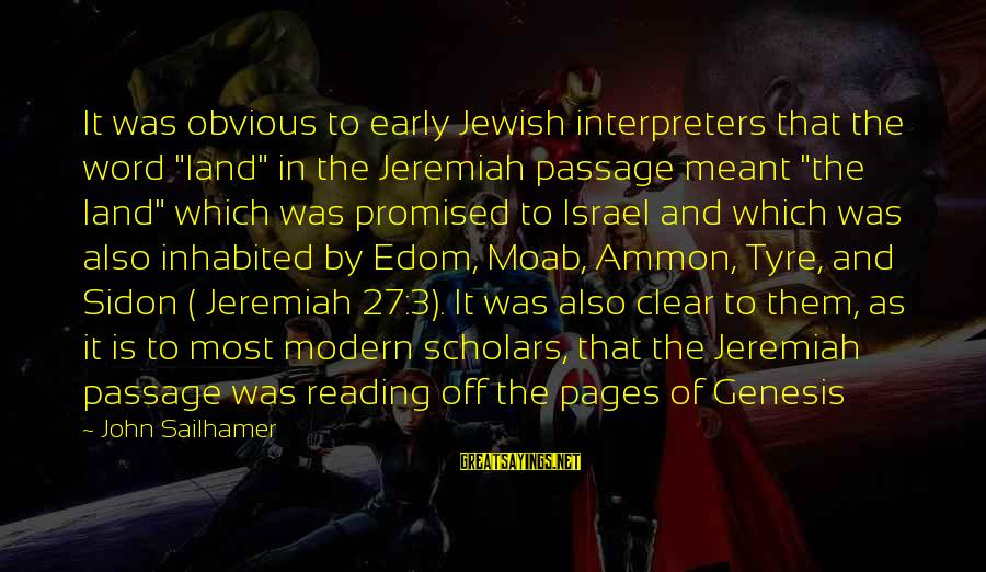 """Tyre Sayings By John Sailhamer: It was obvious to early Jewish interpreters that the word """"land"""" in the Jeremiah passage"""