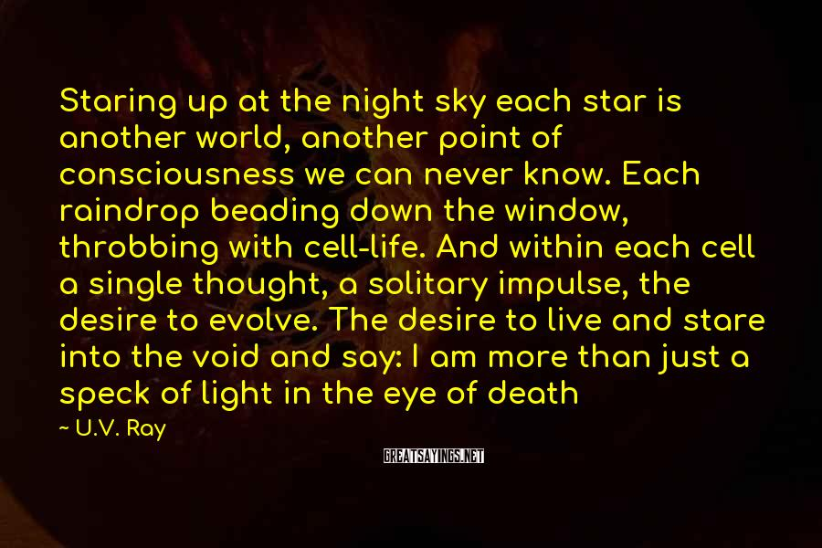U.V. Ray Sayings: Staring up at the night sky each star is another world, another point of consciousness