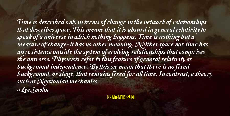 Ultimate Questions Sayings By Lee Smolin: Time is described only in terms of change in the network of relationships that describes