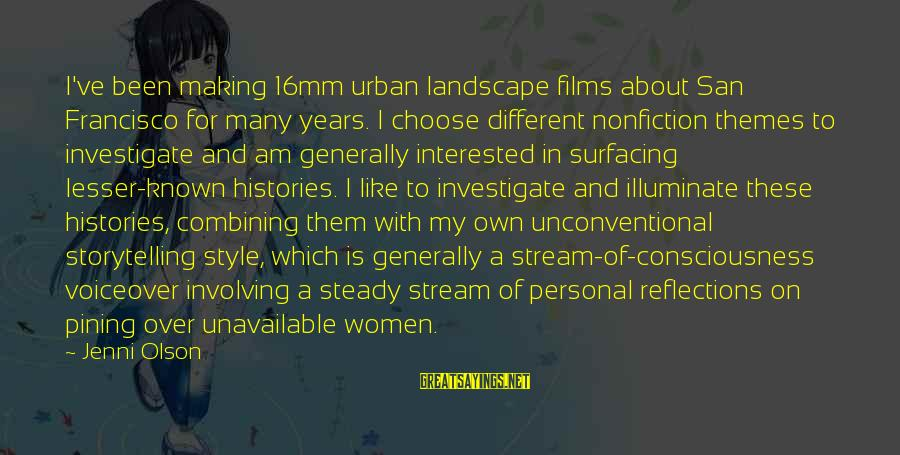 Unconventional Sayings By Jenni Olson: I've been making 16mm urban landscape films about San Francisco for many years. I choose