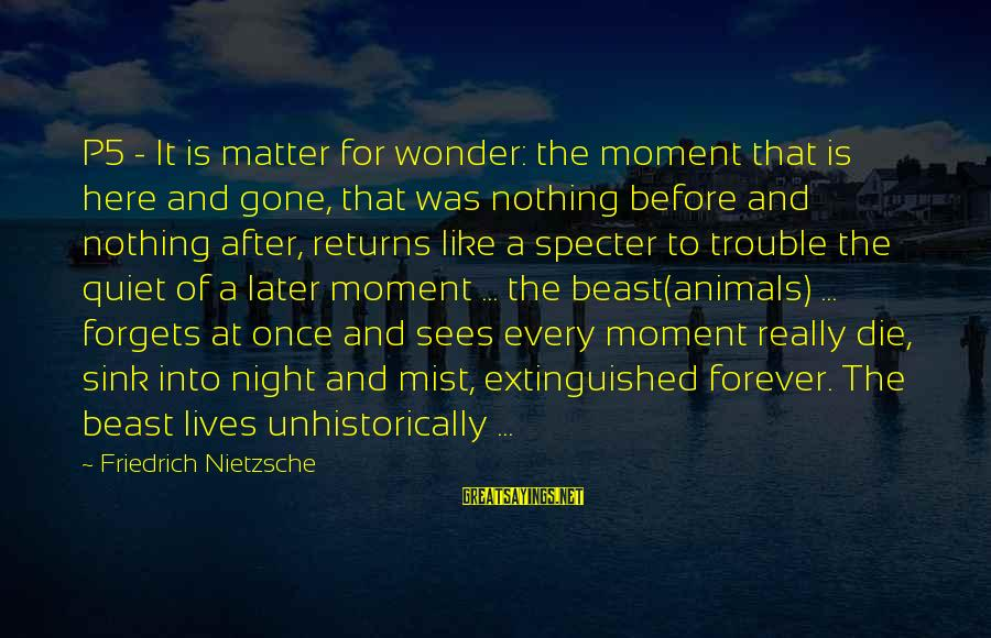 Unhistorically Sayings By Friedrich Nietzsche: P5 - It is matter for wonder: the moment that is here and gone, that