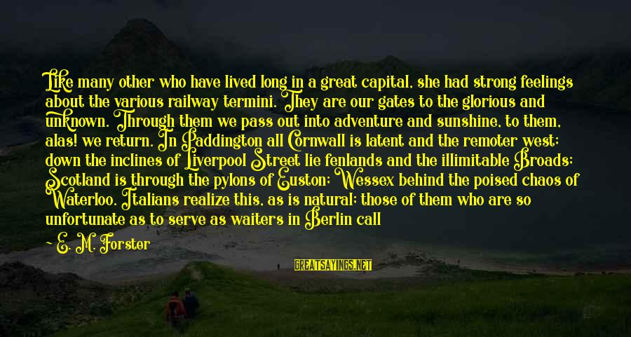Unknown Feelings Sayings By E. M. Forster: Like many other who have lived long in a great capital, she had strong feelings