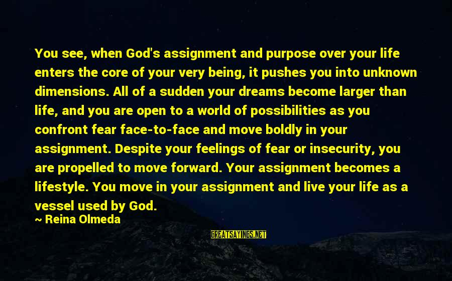 Unknown Feelings Sayings By Reina Olmeda: You see, when God's assignment and purpose over your life enters the core of your