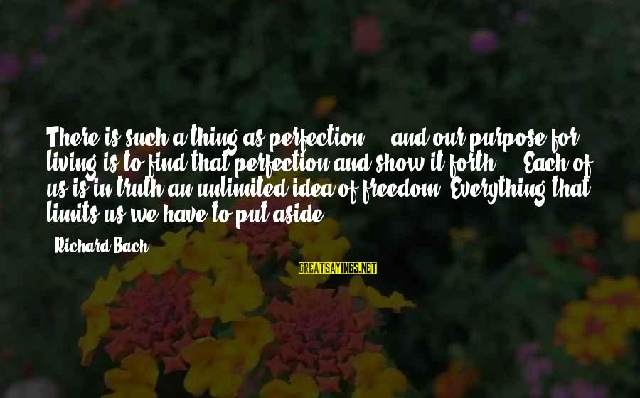 Unlimited Sayings By Richard Bach: There is such a thing as perfection ... and our purpose for living is to