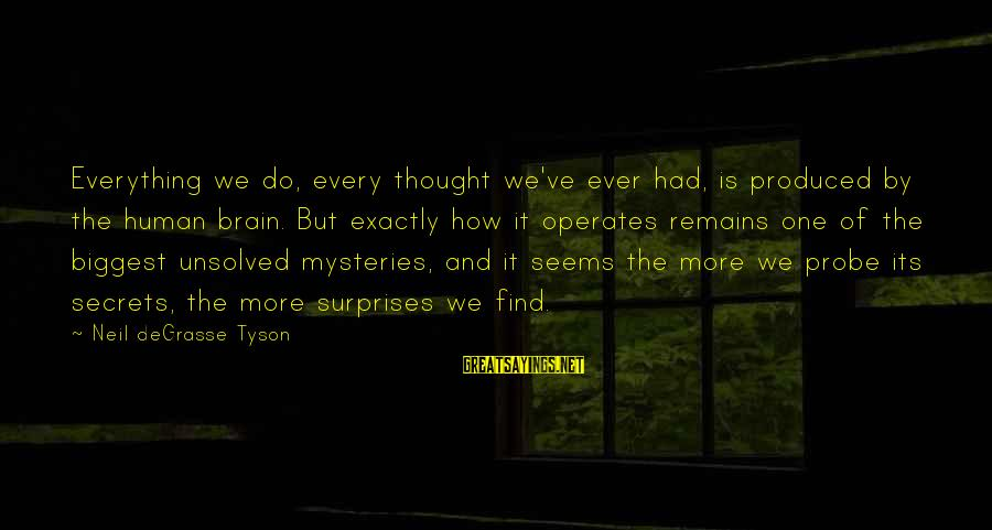 Unsolved Sayings By Neil DeGrasse Tyson: Everything we do, every thought we've ever had, is produced by the human brain. But