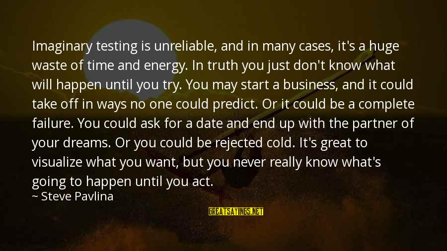 Up To Date Sayings By Steve Pavlina: Imaginary testing is unreliable, and in many cases, it's a huge waste of time and