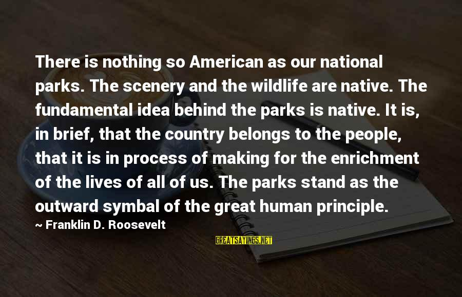 Us National Parks Sayings By Franklin D. Roosevelt: There is nothing so American as our national parks. The scenery and the wildlife are