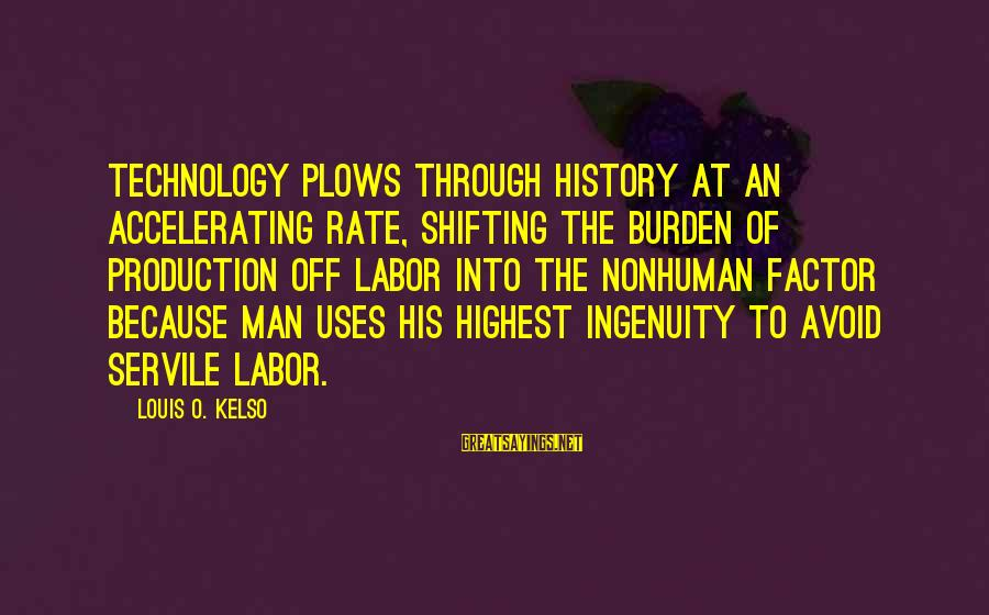 Uses Of Technology Sayings By Louis O. Kelso: Technology plows through history at an accelerating rate, shifting the burden of production off labor
