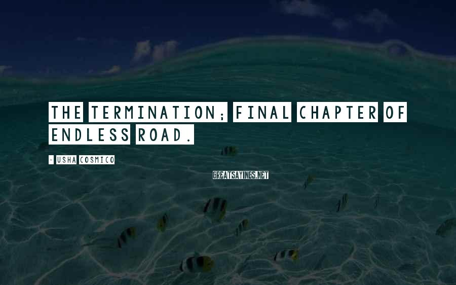 Usha Cosmico Sayings: The termination; final chapter of endless road.