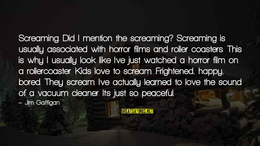 Vacuum Cleaner Sayings By Jim Gaffigan: Screaming. Did I mention the screaming? Screaming is usually associated with horror films and roller
