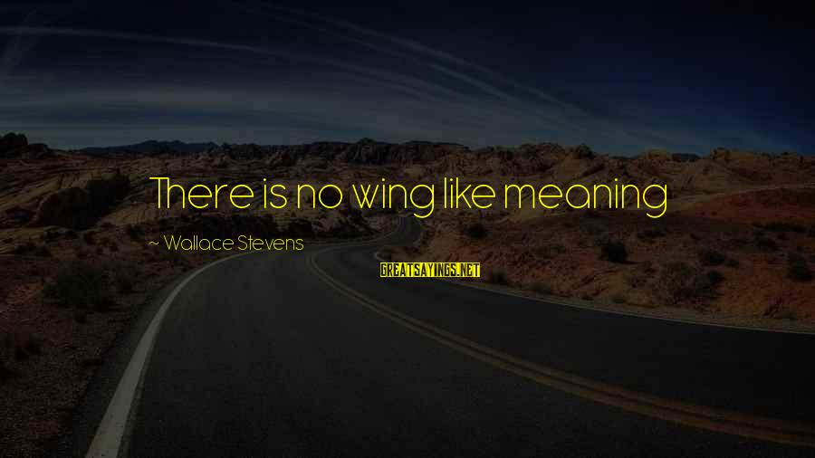 Valentines Day Famous Sayings By Wallace Stevens: There is no wing like meaning