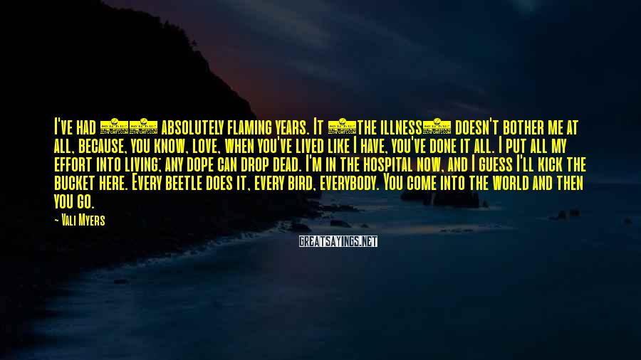 Vali Myers Sayings: I've had 72 absolutely flaming years. It (the illness) doesn't bother me at all, because,