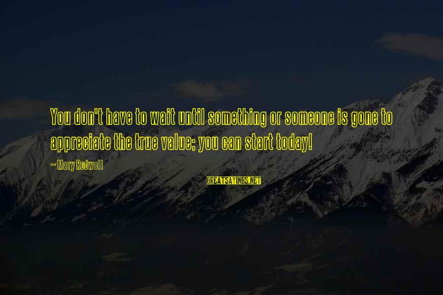 Value Quotes And Sayings By Mary Rodwell: You don't have to wait until something or someone is gone to appreciate the true