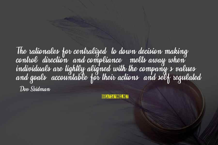 Values And Actions Sayings By Dov Seidman: The rationales for centralized, to-down decision making - control, direction, and compliance - melts away