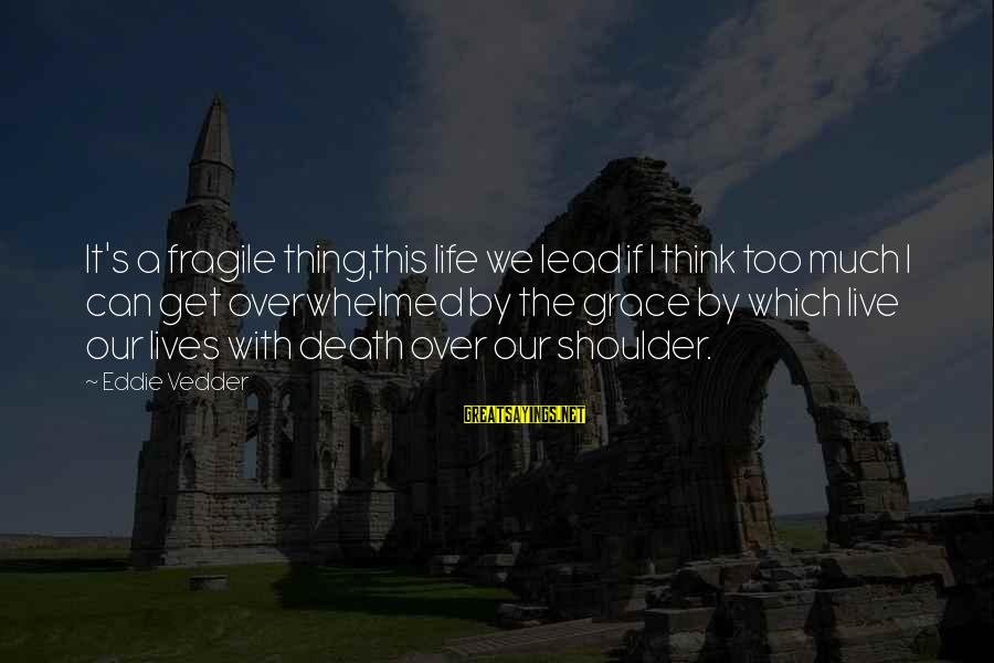 Vedder Sayings By Eddie Vedder: It's a fragile thing,this life we lead if I think too much I can get
