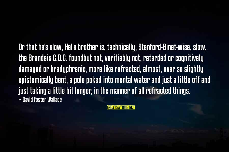 Verifiably Sayings By David Foster Wallace: Or that he's slow, Hal's brother is, technically, Stanford-Binet-wise, slow, the Brandeis C.D.C. foundbut not,
