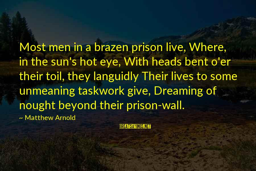 Very Hot Sun Sayings By Matthew Arnold: Most men in a brazen prison live, Where, in the sun's hot eye, With heads