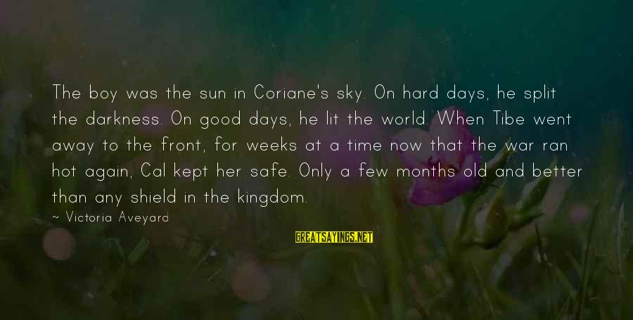 Very Hot Sun Sayings By Victoria Aveyard: The boy was the sun in Coriane's sky. On hard days, he split the darkness.