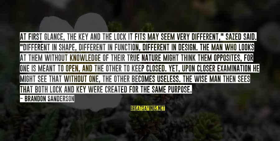 """Very Wise Sayings By Brandon Sanderson: At first glance, the key and the lock it fits may seem very different,"""" Sazed"""