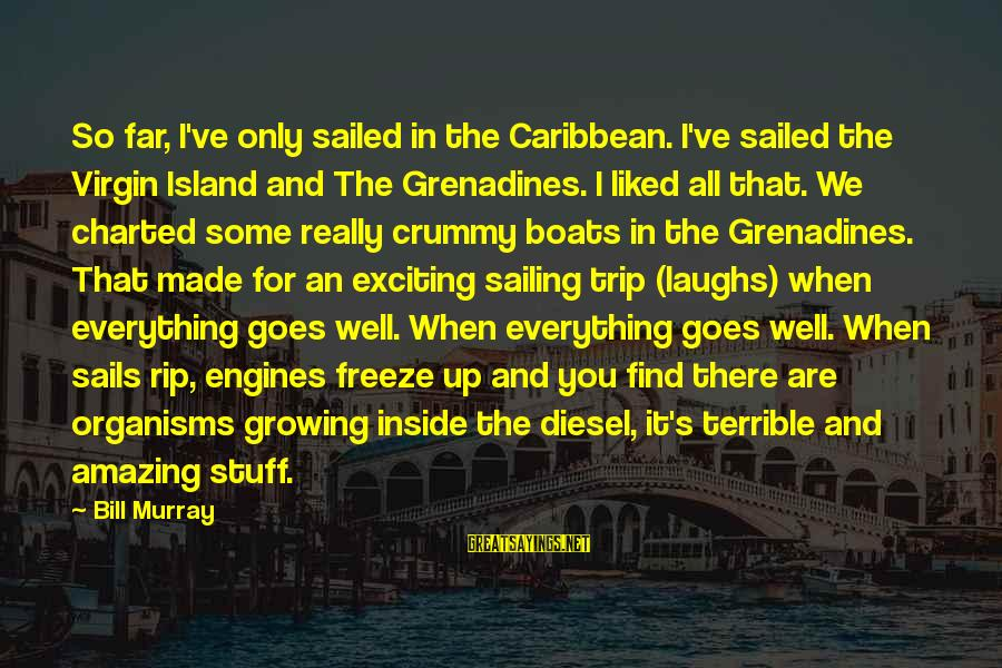 Vestured Sayings By Bill Murray: So far, I've only sailed in the Caribbean. I've sailed the Virgin Island and The