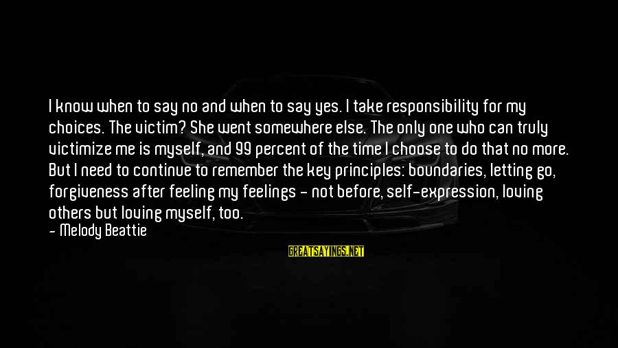 Victimize Sayings By Melody Beattie: I know when to say no and when to say yes. I take responsibility for