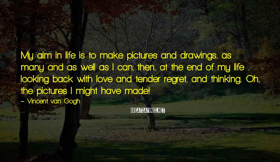 Vincent Van Gogh Sayings: My aim in life is to make pictures and drawings, as many and as well