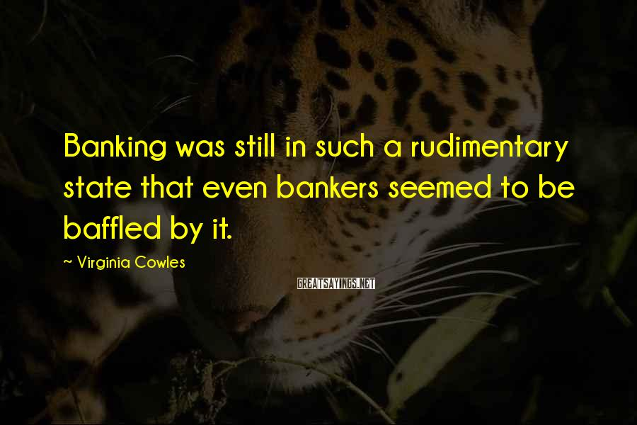 Virginia Cowles Sayings: Banking was still in such a rudimentary state that even bankers seemed to be baffled