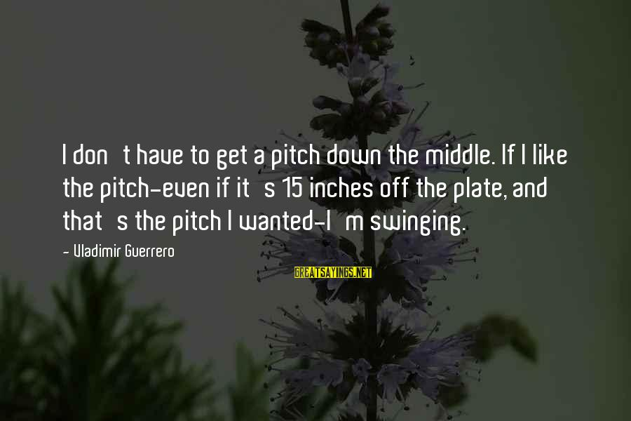 Vladimir Guerrero Sayings By Vladimir Guerrero: I don't have to get a pitch down the middle. If I like the pitch-even