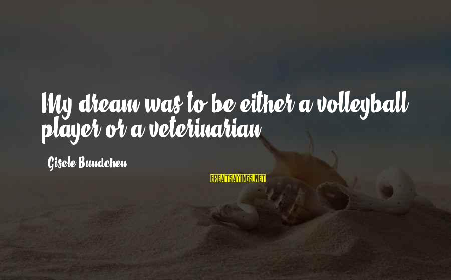 Volleyball Sayings By Gisele Bundchen: My dream was to be either a volleyball player or a veterinarian.