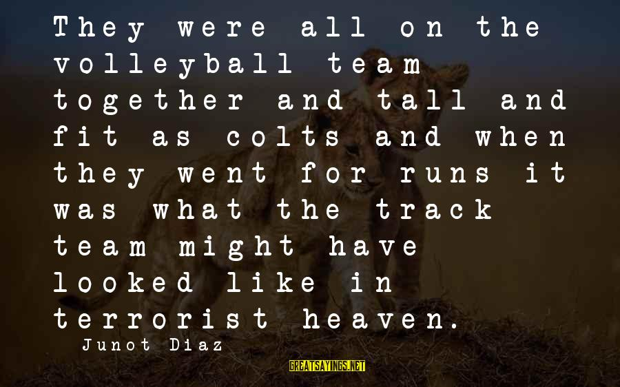 Volleyball Sayings By Junot Diaz: They were all on the volleyball team together and tall and fit as colts and