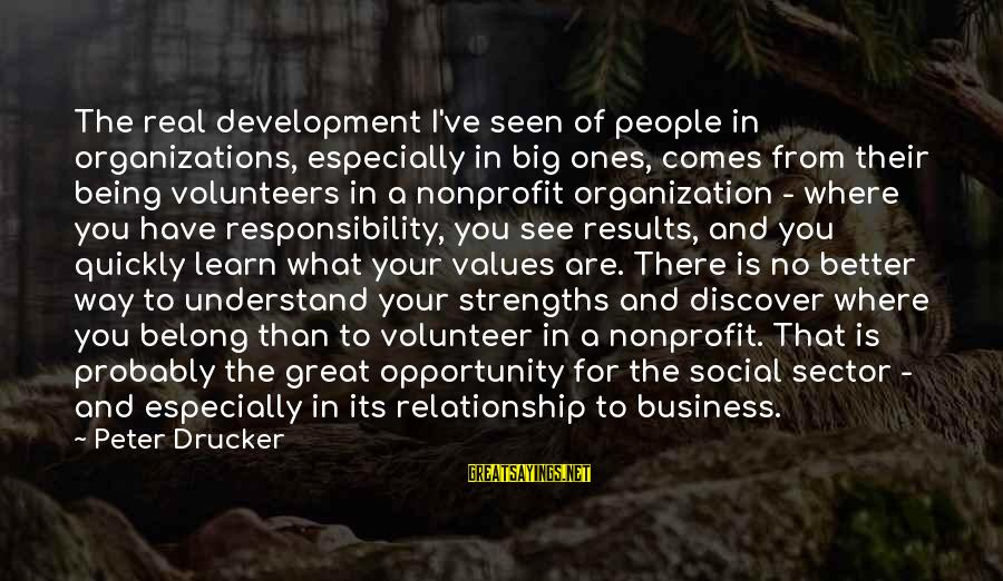 Volunteers Sayings By Peter Drucker: The real development I've seen of people in organizations, especially in big ones, comes from
