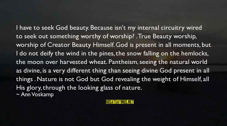 Voskamp Sayings By Ann Voskamp: I have to seek God beauty. Because isn't my internal circuitry wired to seek out