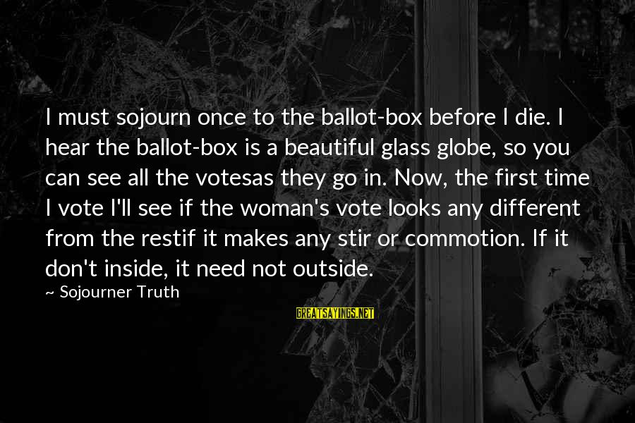 Votesas Sayings By Sojourner Truth: I must sojourn once to the ballot-box before I die. I hear the ballot-box is