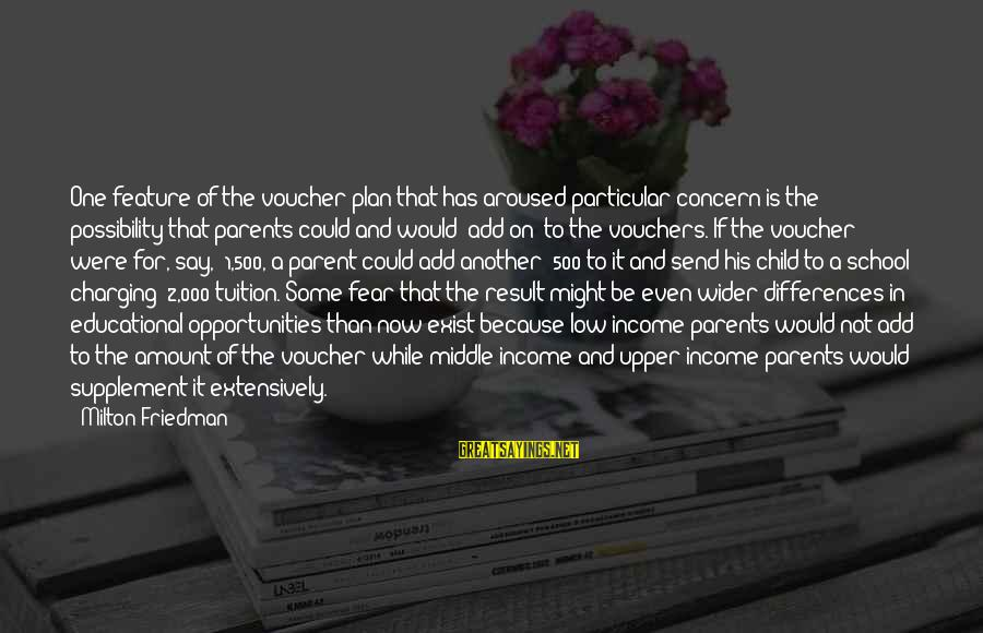 Vouchers Sayings By Milton Friedman: One feature of the voucher plan that has aroused particular concern is the possibility that