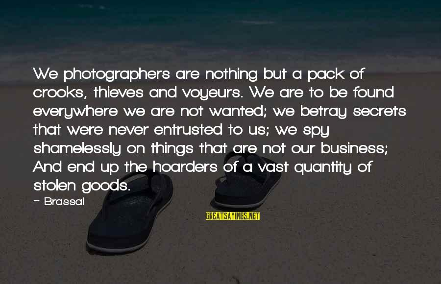 Voyeurs Sayings By Brassai: We photographers are nothing but a pack of crooks, thieves and voyeurs. We are to