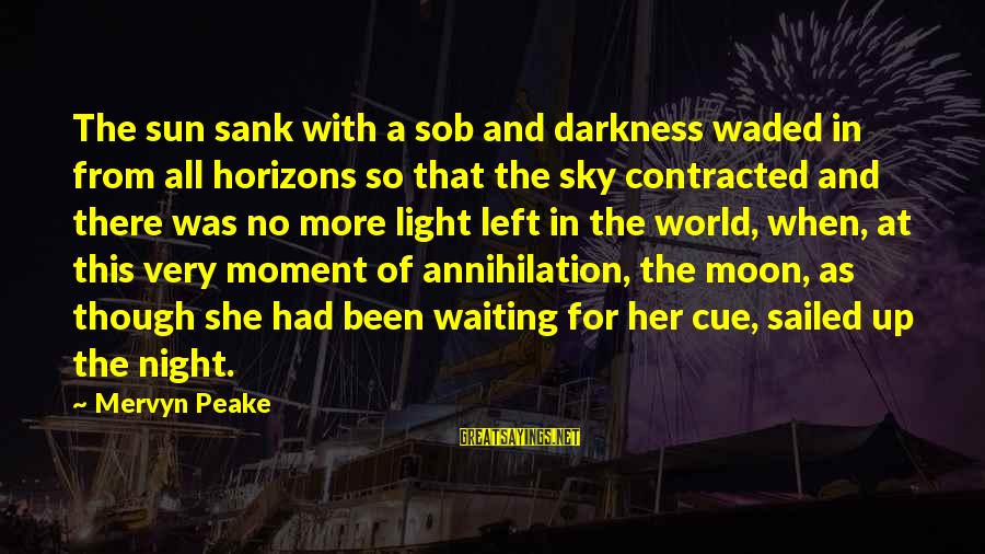 Waiting All Night Sayings By Mervyn Peake: The sun sank with a sob and darkness waded in from all horizons so that