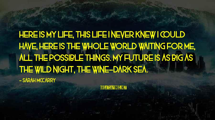 Waiting All Night Sayings By Sarah McCarry: Here is my life, this life I never knew I could have, here is the