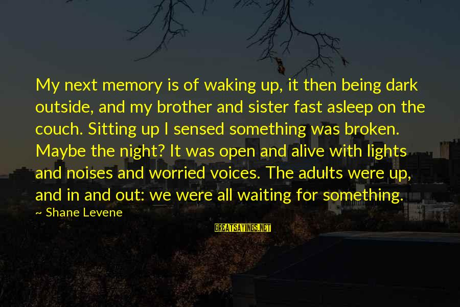Waiting All Night Sayings By Shane Levene: My next memory is of waking up, it then being dark outside, and my brother
