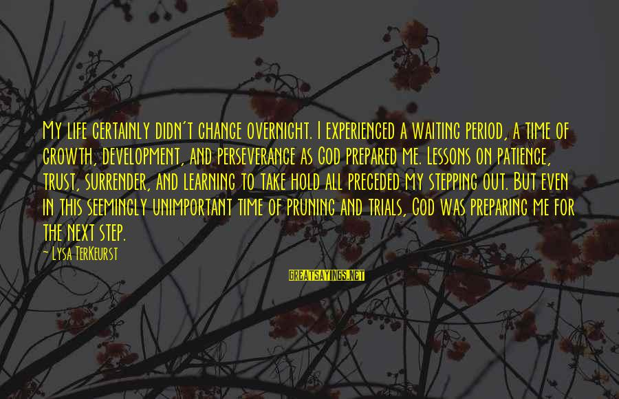Waiting For Change Sayings By Lysa TerKeurst: My life certainly didn't change overnight. I experienced a waiting period, a time of growth,