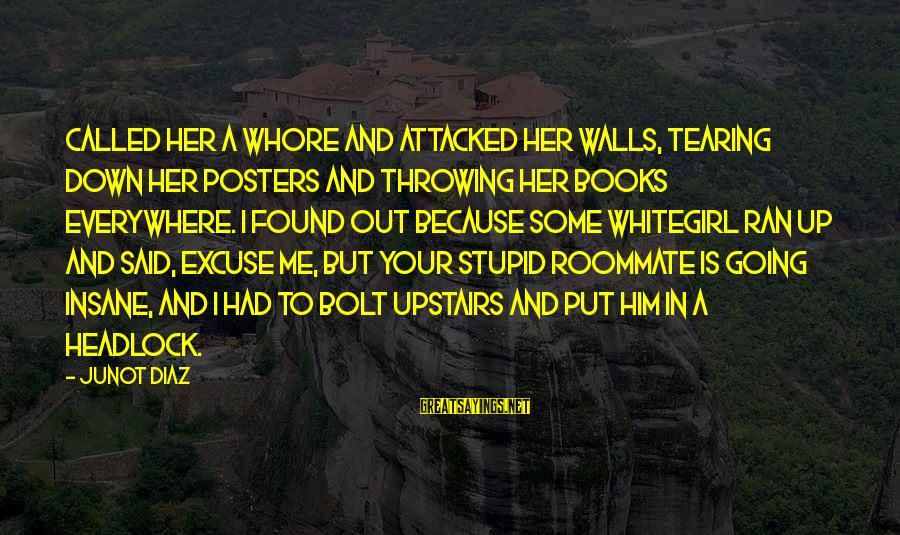 Walls Put Up Sayings By Junot Diaz: Called her a whore and attacked her walls, tearing down her posters and throwing her